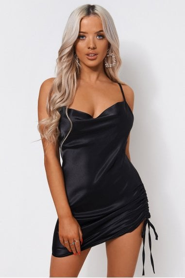 Black Satin Ruched Slip Dress
