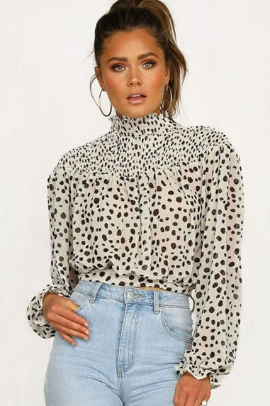 White Dalmatian Print High Neck Blouse