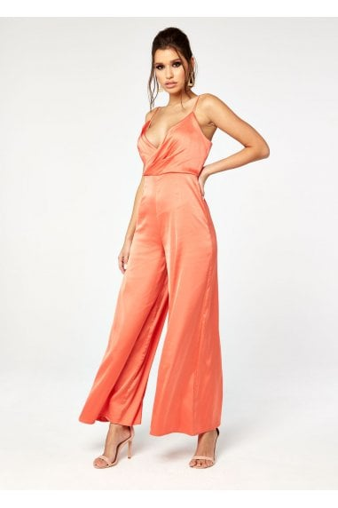 SATIN WRAP FRONT JUMPSUIT