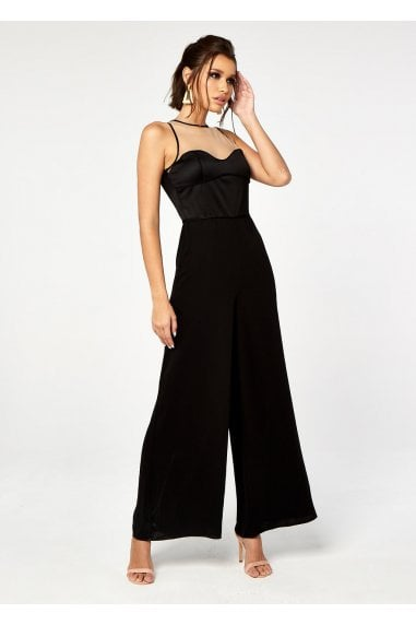 SATIN TOP ILLUSION JUMPSUIT