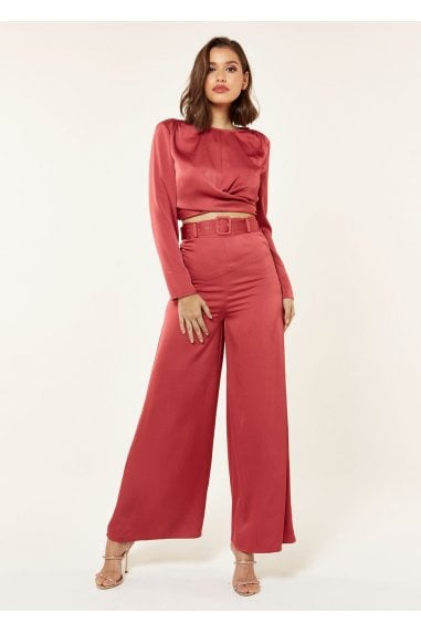 WIDE LEG SATIN TROUSER BELT ROUSER