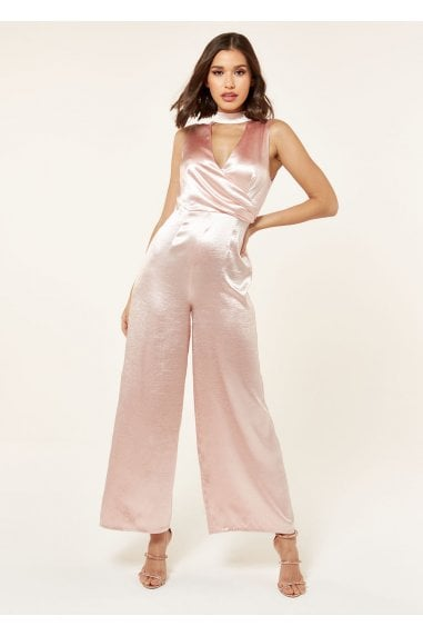 SATIN HIGH NECK JUMPSUIT