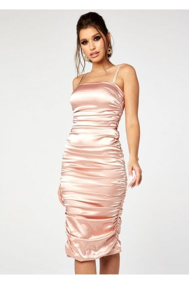 RUCHED SATIN MIDAXI DRESS