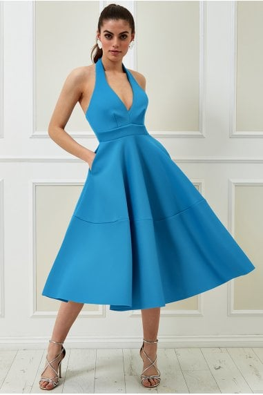 Vicky Pattison Azure Halter Neck A-Line Midi Dress