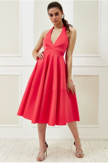 Vicky Pattison Hot Pink Halter Neck A-Line Midi Dress