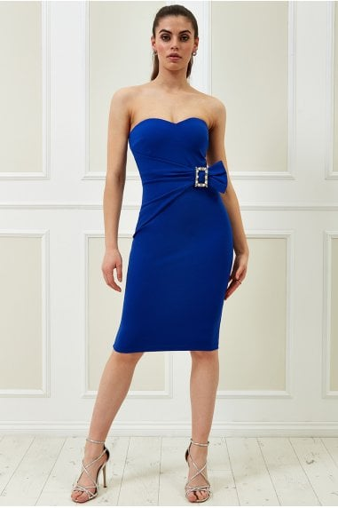 Vicky Pattison Royal Blue Buckle Bandeau Midi Dress