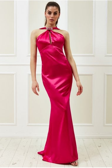 Vicky Pattison Cerise Halter Neck Buckle Maxi Dress