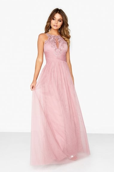 Dusty Blush Mesh Maxi Dress