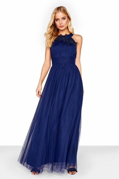Navy Maxi Dress With Floral Applique