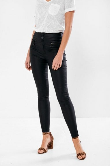 Margo Black Button High Waist Coated Trousers in Black
