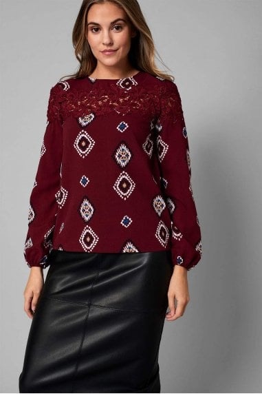 Annie Crochet Panel Top in Burgundy