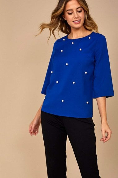 Sarah Occasion Top with Pearl Detail in Blue