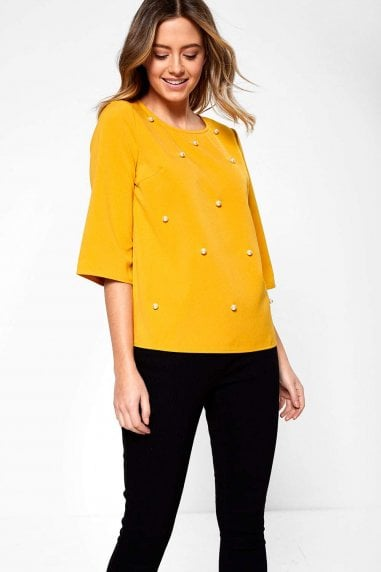 Sarah Occasion Top with Pearl Detail in Mustard