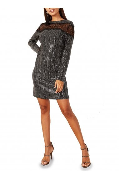 Alexia Lace Detailed Sequin Dress