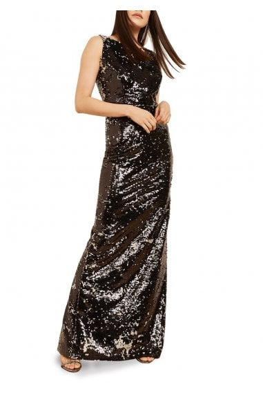 Cammy Bateau Neck Sequinned Evening Gown