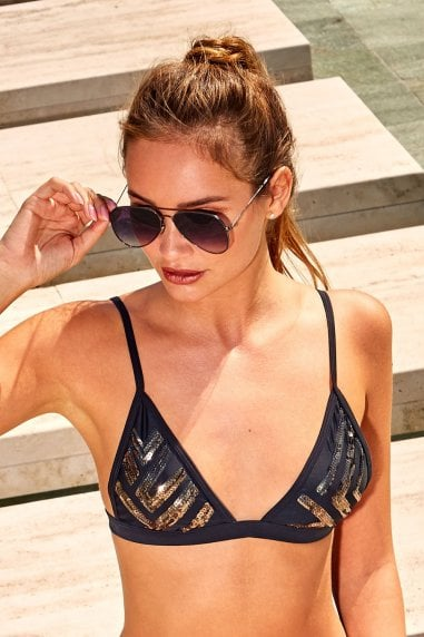 Outlet Sequin Triangle Bikini Top in Black