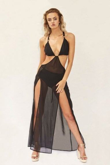 Outlet Plunge Chiffon Holiday Maxi Dress in Black
