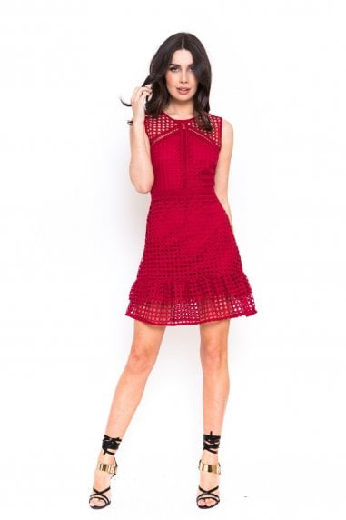 Outlet Red Crochet Frill Dress
