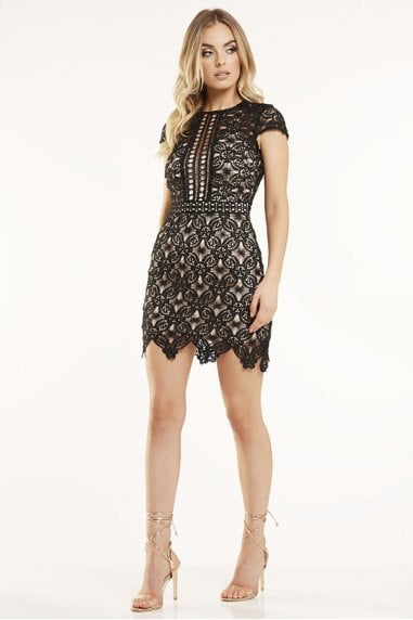 Outlet Black Crochet Lace Dress