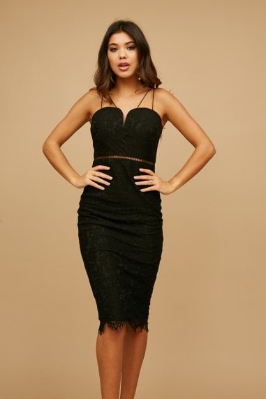Midas Touch Black Lace Sweetheart Dress
