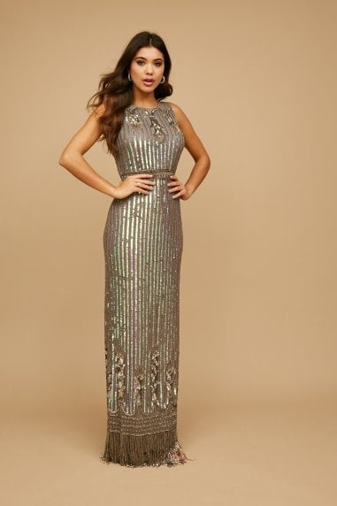 Bayliss Grey Deco Embellished Maxi Dress