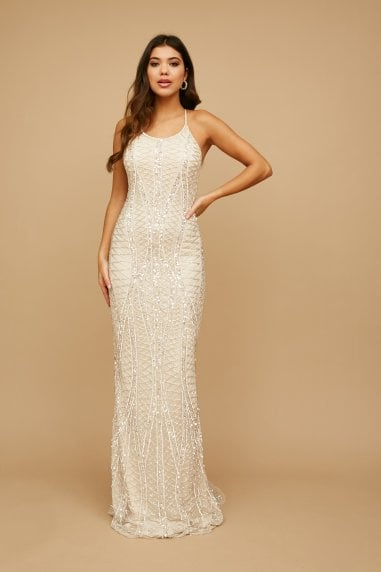 Misha Cream Geo Embellished Maxi Dress