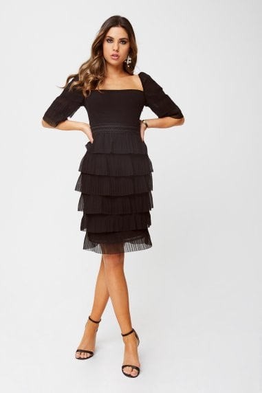 Cybil Black Square-Neck Tiered Shift Dress