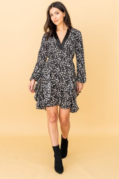 Black Floral Layered Dress With Satin Vneck Trim