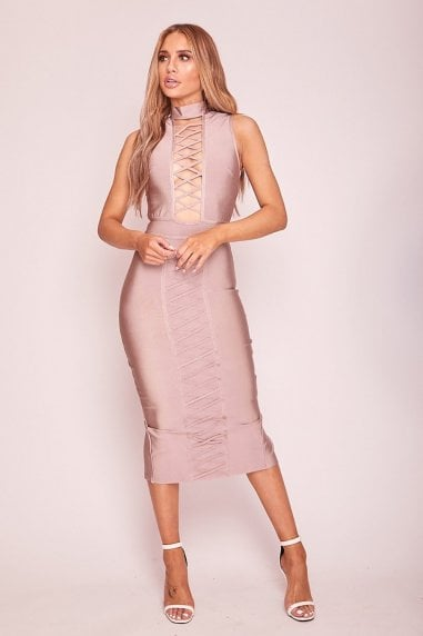 Mink Bandage Plunge Midaxi Dress