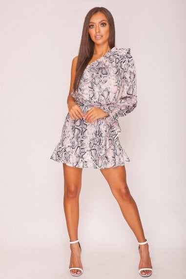 Pink Snake Print Asymmetric Mini Dress