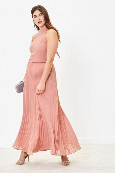 MEGAN HIGH NECK PLEAT MAXI