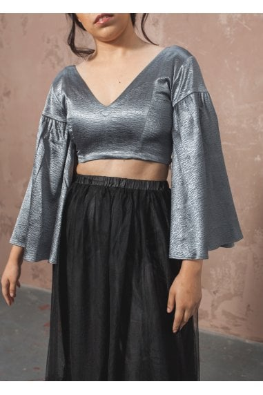 Waterfall Sleeve Crop Top- Stormy Grey