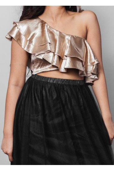 Diagonal Frill Crop Top- Champagne