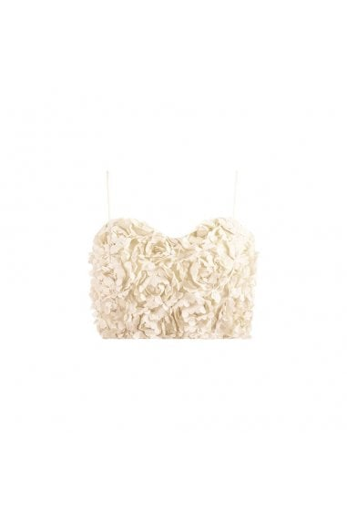 Petal Cami Crop Top- Cream