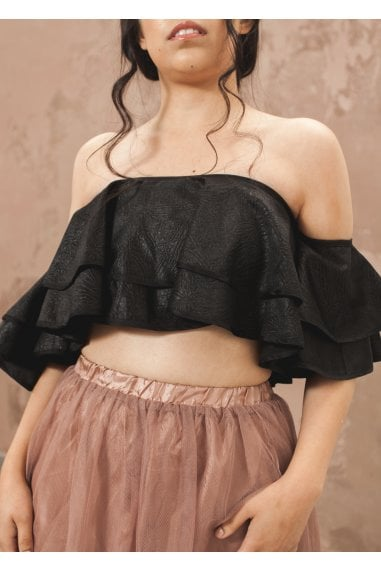 Bardot Frill Crop Top-Black