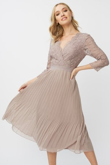Leonora Oyster Crochet Pleated Midi Dress