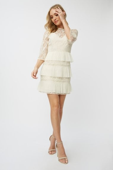 Teigen Cream Lace Tiered Mini Shift Dress
