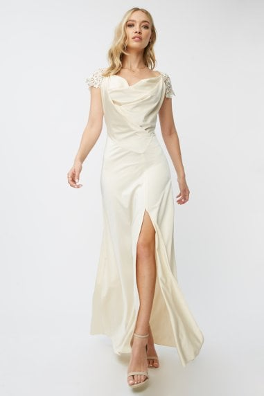 Bridesmaid Teigen Cream Satin And Crochet Cowl-Neck Maxi Dress