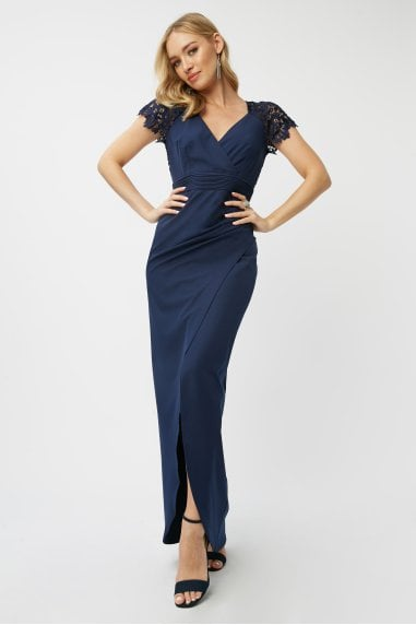 Bridesmaid Aliza Navy Crochet Mock Wrap Maxi Dress