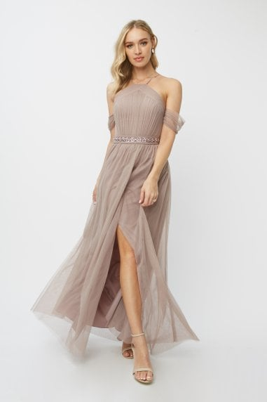 Bridesmaid Leonora Oyster Embellished Belted Maxi Dress