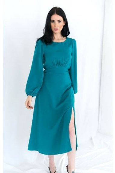Long Sleeve Backless Green Midi Dress with Split