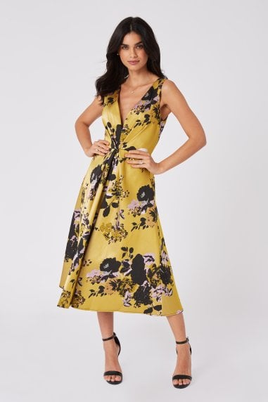 Robin Yellow Floral Jacquard Midi Skater Dress