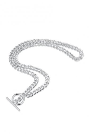 Sterling Silver Plated T-Bar and Circle Chain Necklace