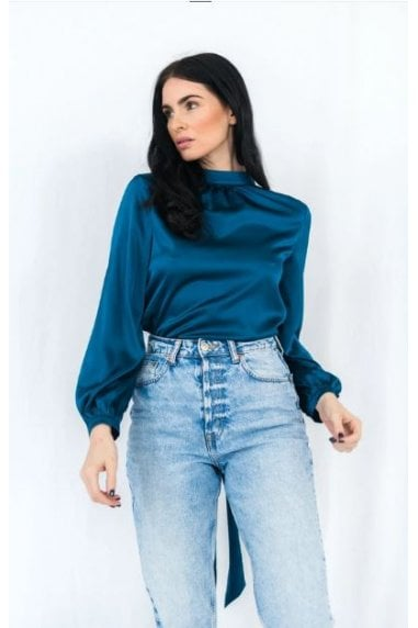 Backless Blue Wrap Blouse