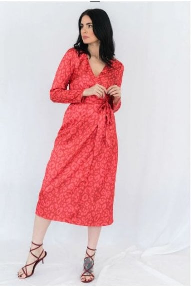 Red Leopard Print Satin Midi Wrap Dress