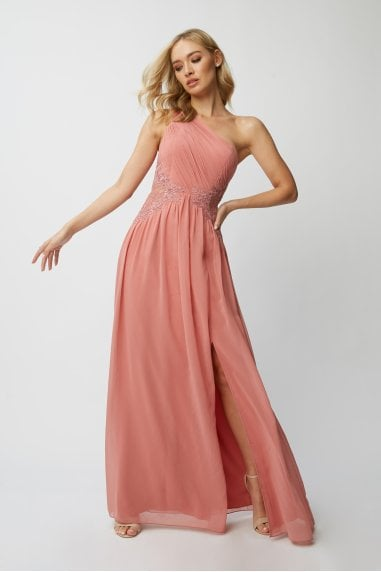 Bridesmaid Corrina Desert Rose Lace-Applique One-Shoulder Maxi Dress