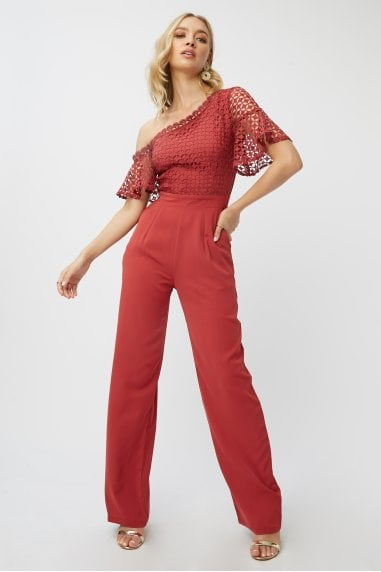 Luisa Marsala Geo-Lace One-Shoulder Jumpsuit