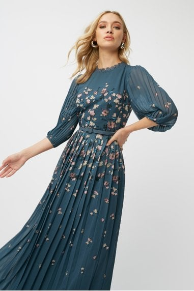 Ellarose Ditsy Floral Belted Pleated Midaxi Dress