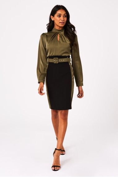 Chia Khaki Colour Block Belted Pencil Dress