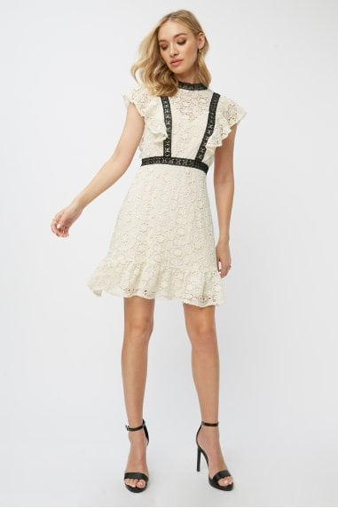 Teigen Cream Crochet Lace Shift Dress